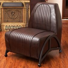 Racer Retro Car Design Brown Leather Accent Club Chair