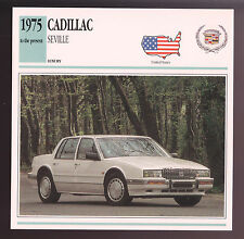 1975-1991 Cadillac Seville Car Photo Spec Sheet Info Stat ATLAS CARD 1990 1989