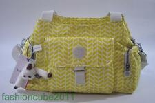 New KIPLING FELIX (FAIRFAX) Large SHOULDER/CROSSBODY BAG - Electric Lime Chevron
