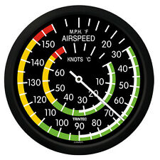 """Trintec 10"""" Classic Airspeed Thermometer Clock 9061-10 - A Great Aviation Gift"""