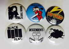 Black Flag Minor Threat Bad Brains Descendents Buttons Pins. Punk Rock Hardcore