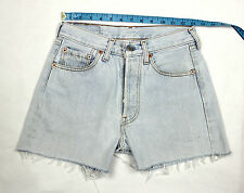(GRADE A) LEVI'S VINTAGE DENIM PALE BLUE HIGH WAISTED SHORTS W26   LV39