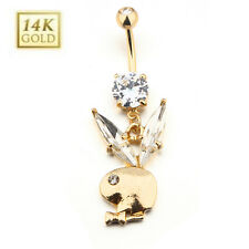 14K Gold Plated Clear Eye Rabbit Belly Button Navel Ring Dangle With Tie