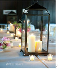 "12 LARGE 18"" tall Black Malta Candle Lantern holder wedding table centerpiece"