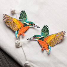 Embroidered Sew Iron on Patch Badge Bag Clothes Dress Applique 2pcs Birds DIY