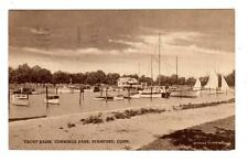 CT - STAMFORD CONNECTICUT 1939 Postcard YACHT BASIN CUMMINGS PARK