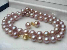 """Genuine 7-8mm Natural Lavender Freshwater Pearl Earrings Necklace Set 18"""""""