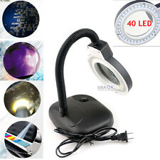 5X 10X Magnifying Desk Table LED Light Magnifier Lamp Adjustable Craft Jewelry