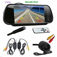 "7"" 800x480 Car Rearview Mirror Monitor Wireless Night Vision Backup Reverse Cam"