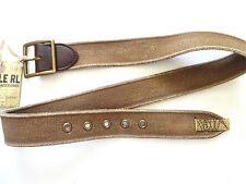 New alph Lauren RRL Worn Distressed Beige Canvas & Leather Trim Belt size 30