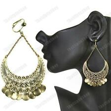 "CLIP ON 3.25""long GYPSY CHANDELIER EARRINGS vintage brass/antique gold pltd BOHO"