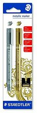 Staedtler Metallic Marker Pens Gold Silver Twin Pack Light Dark Card