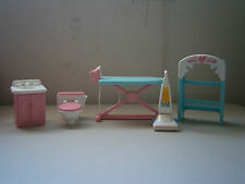 Lot of 5 Fisher Price Accessories - Toilet, Sink, Ironing Board, Vacuum, Hutch?