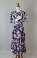 VINTAGE LAURA ASHLEY Violet Sailor Dress Boating 1920's Gatsby US sz 4 UK 8