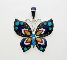 TANTALIZING HANDMADE MULTICOLOR TURQUOISE INLAY .925 SILVER BUTTERFLY PENDANT