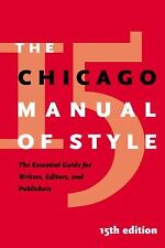 The Chicago Manual of Style, 15th Edition (2003, Hardcover)