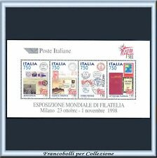 1997 Italia Repubblica Foglietto Expo Italia 98 n.19 Nuovo Integro **