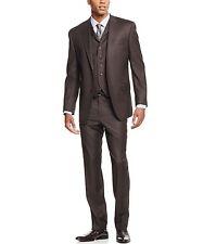 Sean John Men's 3-Piece Olive Pindot 38Reg/32W Vested Classic Fit Suit