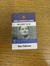 02/11/2013 Ticket: Portsmouth v Rayo Vallecano [Jimmy Dickinson Lounge VIP Guest