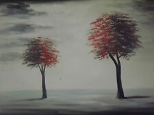minimal black white red landscape trees large oil painting canvas art original