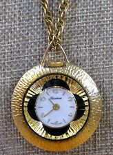 "Lucerne Vintage Swiss Made Wind Up Pretty Necklace Pendant Watch-24"" Chain"