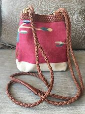 Vintage Kilim Dhurrie Rug Bag Leather Branded Cross Body Strap Hippie Boho