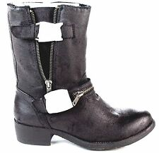 Rbls r.b.l.s. Women's Siam Mid Calf Moto Boot Antique Black Synthetic Size 7.5