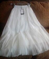 NWT YUQI fashion, white, nylon mesh ?, Flare, skirt,Sz.S-M