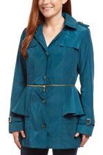 BETSEY JOHNSON 3 in 1 Ruffle Peplum Trench Hooded Rain Coat Jacket Slate Teal XS