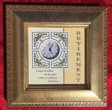 "RETIREMENT CLOCK ""Time to Reflect"" Gift Tabletop  Desktop Gold Tone 6"" X 6"""