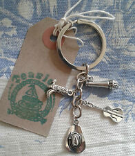 HAND MADE Cowgirl Country & Western Line Dancing Cowboy Silver Plated KEYRING