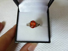 BAGUE OR BLANC ORNEE D'UN SAPHIR ORANGE 1.3 CT & DIAMANTS - CERTIFICAT