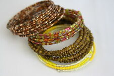 Four  Beaded Handmade Seed Beaded Wire Wrap Memory Braclets Yellow Greens Browns