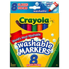 Crayola Washable Markers, Broad Tip, Classic Assorted Colors, 8/Pack (58-7808)