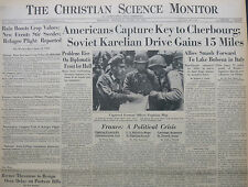 6-1944 WWII June 12 D-DAY INVASION AMERICANS CAPTURE KEY TO CHERBOURG CS MONITOR