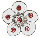 White Flower With Crystals Golf Ball Markers Package of 2