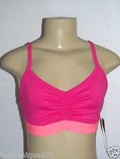 NWT OLD NAVY WOMENS FLAMINGO AGOGO NEON PINK RUCHED  SPORTS BRA LARGE