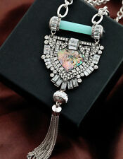 ART DECO Vintage Style Long Silver Crystal Emerald Paste Flapper Tassel Necklace