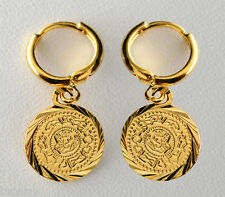 Persian Coin Earrings Leverback 1/2 inch 24K Gold Plated - Gold Coin Jewelry