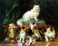 Vintg Art~ Kitten~Cat~Cats~Kitty~Kittens~Calico~Play in Roses~NEW Lge Note Cards