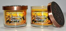 2 Bath Body Works SWEATER WEATHER mini glass candles- 1.6 oz Scented Candle NEW