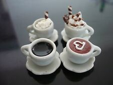 4 Mix Cups of Cappuccino Coffee Dollhouse Miniatures Food Deco Bakery Drink 1