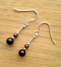 Black Onyx & Garnet Gemstone & Sterling Silver Drop Earrings