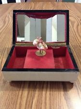 ANTIQUE REUGE DANCING BALLERINA MUSIC JEWELRY BOX BEVELED MIRROR