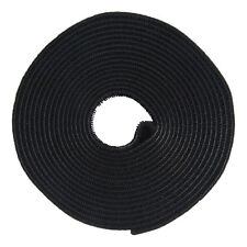 Hook And Loop Tape Strap Cable Ties Fastener Black 15FT Self Adhesive Roll Wrap