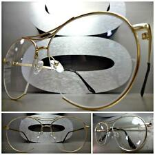 Mens Women VINTAGE RETRO AVIATOR Style Clear Lens EYE GLASSES Gold Fashion Frame