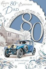 """Dad's 80th Birthday Card - 80 Today Classic Blue Car Parked Outside House 9 x 6"""""""