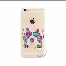 Kissing Mickey & Minnie Arco Iris claro caso de gel de silicona para iPhone 4/4s. Navidad