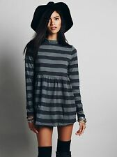 NWT FREE PEOPLE SzXS WE THE FREE MOD ABOUT IT TUNIC TOP STRIPED GREY COMBO $68.