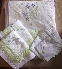 POTTERY BARN KIDS EMMA LAVENDER FULL QUEEN BEDDING QUILT SHAMS EUC $300